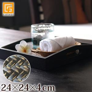 トレイ(チーク&バンブー)24×24×4cm持ち手付き   アジアン雑貨 バリ おしゃれ アメニティケース リゾート バリ雑貨 バリ風 インテリアlxl|cocobari