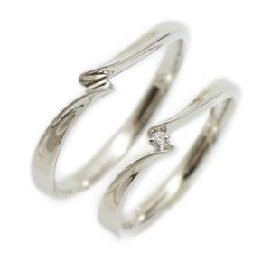 ペアリング マリッジリング 結婚指輪 ホワイトゴールド K18 2本セット ダイヤモンド|cococaru