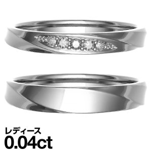 ペアリング K10 ホワイトゴールド リング ダイヤモンド 結婚指輪 マリッジリング 2本セット...