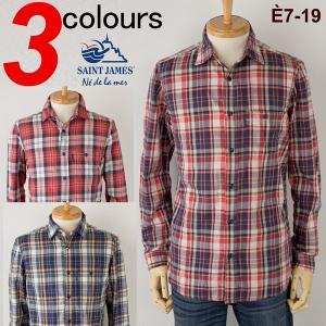 セントジェームス シャツ 長袖 チェックシャツ SAINT JAMES TOM FRANNEL SHIRT|cocochiya