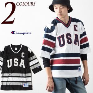 チャンピオン Tシャツ アクションスタイル ホッケーシャツ C3-J432 CHAMPION HOCKET SHIRT メンズ 七分袖シャツ|cocochiya