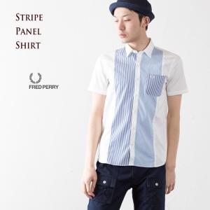 フレッドペリー FRED PERRY シャツ ストライプ STRIPE PANEL SHIRT 10.ホワイト パネル 半袖シャツ F4383|cocochiya