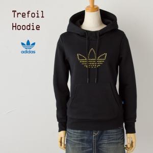 アディダス オリジナルス レディース トレフォイル スタッズ フーディーブラック/ゴールドスタッズ adidas originals trefoil hoodie|cocochiya