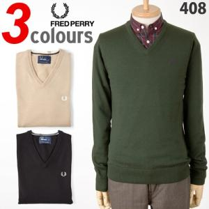 フレッドペリー セーター メリノウール Vネックセーター FRED PERRY V-NECK SWEATER K8225|cocochiya