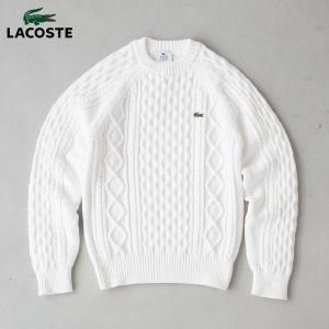ラコステ 日本製 ケーブル編み セーター クルーネック ホールガーメント セーター LACOSTE CREW NECK CABLE SWEATER メンズ AH7069/AH290E|cocochiya