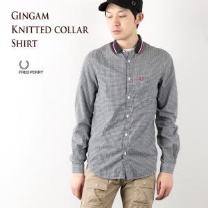 フレッドペリー シャツ ニットカラー チェックシャツ ギンガム/ネイビー×ホワイト×レッド FRED PERRY RIB PIQUE SHIRT F4273|cocochiya