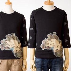 チキリヤ 七分袖Tシャツ八重桜兎/ブラック 和柄/ちきりやCHIKIRIYATシャツ|cocochiya