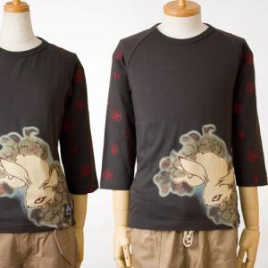 チキリヤ 七分袖Tシャツ八重桜兎/スミ 和柄/ちきりやCHIKIRIYATシャツ|cocochiya