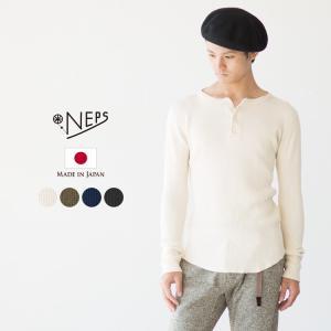 NEPS クラシック ワッフル ヘンリーネック Tシャツ/ネップス メンズ CLASSIC WAFFLE HENRY NECK T-SHIRT|cocochiya