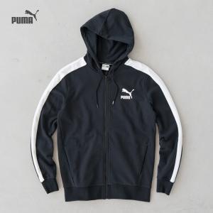 プーマ クラシック T7 フーデッド スウェット ジャケット 577586-01 プーマブラック/ホワイト|cocochiya