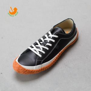 スピングルムーブ レザー スニーカー SPM-101 ブラック オレンジ SPINGLE MOVE バルカナイズ製法|cocochiya