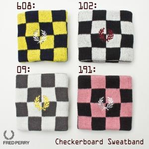 フレッドペリー チェッカーボード リストバンド4色 FRED PERRY CHEQUERBOARD SWEAT BAND|cocochiya