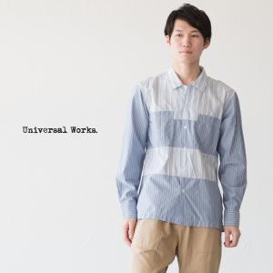 ユニバーサルワークス パネルシャツ 20658 長袖 キャンプカラー 開襟シャツ|cocochiya