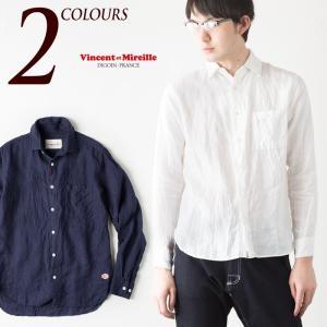 ヴァンソンエミレイユ フレンチリネン シャツ 日本製 フレンチカラーシャツ VM71-LI607M Vincent et Mireille FRENCH LINEN SHIRT メンズ 長袖送料無料|cocochiya