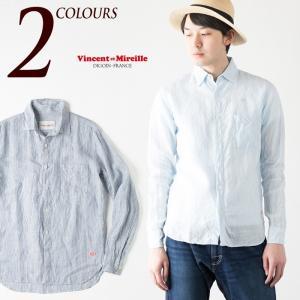 ヴァンソンエミレイユ フレンチリネン ストライプ シャツ 日本製 フレンチカラーシャツ VM71-LI607M Vincent et Mireille メンズ 長袖|cocochiya
