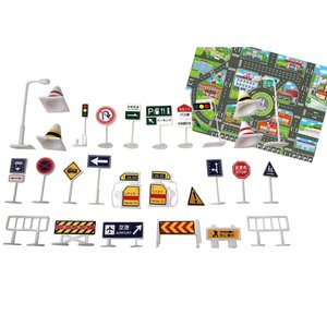 ◆トミカ プラレール などおもちゃの ミニカー 電車 と一緒に遊べる道路標識28個セットです。ミニカ...