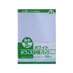 ツバメ工業/ホワイト封筒 角3 100g/m2 100枚/W100-K3|cocodecow