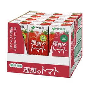 [伊藤園 理想のトマトハーフケース 200ml×12本]は、「おいしさ」と「栄養」を兼ね備えたトマト...