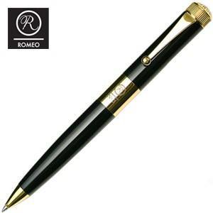 ROMEO ボールペン 名入れ ロメオ(ROMEO) No.3 ボールペン 太軸 ブラック/ゴールドメッキ R-113|cocolab
