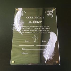 【メール便送料無料】 アクリル結婚証明書 チャペル用 スタンド式