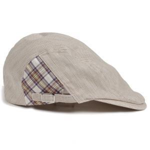 ハンチング帽 メンズ ベージュ 色 ピンストライプ織 部分チェック飾り オーガニック・ジンバブエ・コットン ハンチングキャップ 帽子 フリー(58cm) 調整可能|coconoco