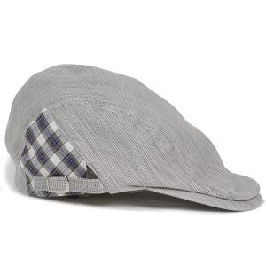 ハンチング帽 メンズ グレー 灰色 ピンストライプ織 部分チェック飾り オーガニック・ジンバブエ・コットン ハンチングキャップ 帽子 フリー(58cm) 調整可能|coconoco