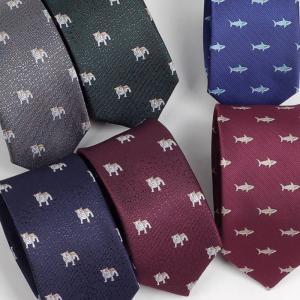 ネクタイ スリム ナロータイ いぬ・ブルドッグ、サメ 生き物 パターン デザイン グレー、ブルー、レッドワイン、グリーン系の 6種 大剣幅6cm|coconoco