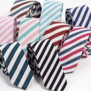 ネクタイ メンズ ストライプ リネン コットン素材 おしゃれ 淡い色でクールな感じ ファッション・ネクタイ 大剣幅 6cm スリム・ナロータイ|coconoco