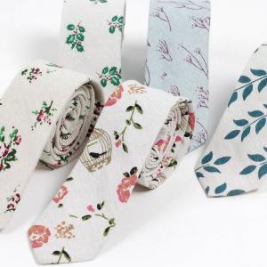 ネクタイ メンズ ボタニカル 植物 リネン コットン素材 おしゃれ 淡い色合いでクールな感じ ファッション 自然モチーフ 大剣幅 6cm スリム・ナロータイ|coconoco