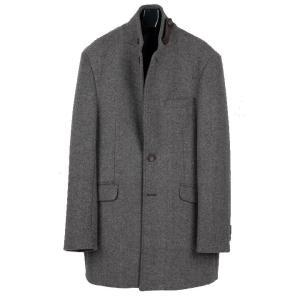 チェスターコート メンズ コート シャドー ストライプ グレー 灰色 スリム ロングジャケット ウール混紡 ツイード ロング ジャケット 2XL coconoco