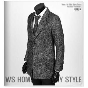 コート ボカシ ブラック ソリッド 無地 毛織 メンズ スリム ロングジャケット ウール混紡 トレンディデザイン シングル ロング ジャケット shd1|coconoco