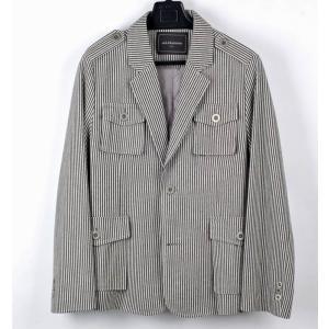 ジャケット メンズ ミリタリールックス ウール ジャケット 縦 ストライプ 灰色 スリムライン M coconoco