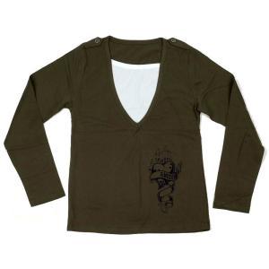 tシャツ 長袖 メンズ レイヤード カーキ メンズファッション トップス Tシャツ・カットソー coconoco
