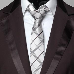 ネクタイ メンズ ラインチェック色 ナロータイ スリムネクタイ シルバーグレー ネクタイ 大剣幅6cm 送料無料|coconoco