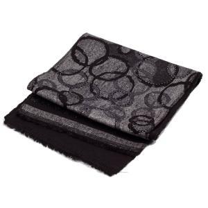ストール マフラー サークル 総柄 パターン 銀糸入 ブラック色 フォーマル 裏はソリッド黒、なめらかな触り心地  送料無料|coconoco