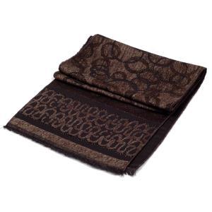 ストール メンズ マフラー サークル 総柄 パターン 銀糸入 ブラウン色 フォーマル 裏はソリッド黒、なめらかな触り心地  送料無料|coconoco