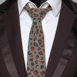 ネクタイ メンズ ヒョウ柄 アニマル柄 ジャングルプリント グレー色 毛織タッチ ネクタイ 大剣幅7cm 送料無料|coconoco
