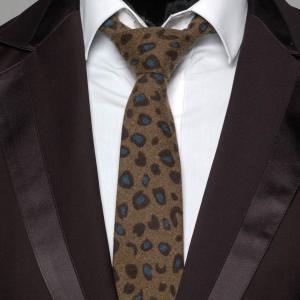 ネクタイ メンズ ヒョウ柄 アニマル柄 ジャングルプリント ブラウン色 毛織タッチ ネクタイ 大剣幅7cm 送料無料|coconoco