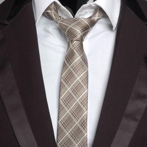 ネクタイ メンズ チェック柄 タータンチェック ナロータイ スリムネクタイ ブラウン 大剣幅6cm 送料無料|coconoco