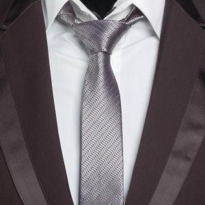 ネクタイ メンズ ダークシルバー ラメ入り 銀糸 飾り グレー ナロータイ スリムネクタイ 大剣幅5.5cm 送料無料|coconoco
