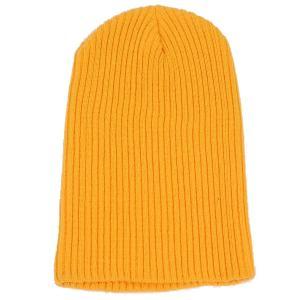 ニット帽  メンズ レディース ビーニー オレンジ色 アクリル素材 テレコ生地 550円ぽっきり 送料無料 coconoco