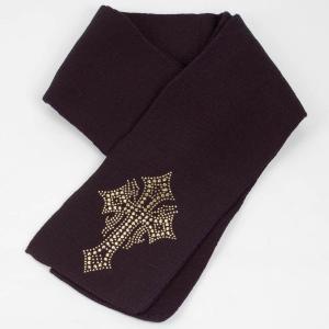 マフラー 冬 スター クロス  ビジュー ラインストーン飾り 黒 フリンジなし スタンダード シンプル アクリル素材 coconoco