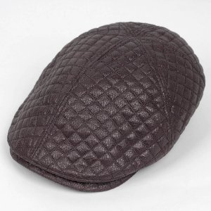 ハンチング メンズ レディース ブラウン 茶色 フェイクレザー 6枚 はぎ キャップ 帽子 55cm ゴムバンド式|coconoco