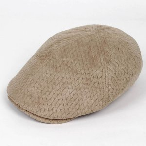 ハンチング メンズ レディース ベージュ色 スエード フェイクレザー 6枚 はぎ キャップ 帽子 55cm ゴムバンド式|coconoco