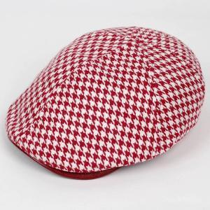 ハンチング メンズ レディース レッド色 ツイード ハウンドトゥース PUツバ 6枚 はぎ キャップ 帽子 55cm ゴムバンド式|coconoco