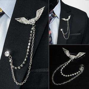 メンズアクセサリー ラペルピン ブローチ チェーン付き ラペル飾り ハート 羽デザイン シルバー色  acs020|coconoco