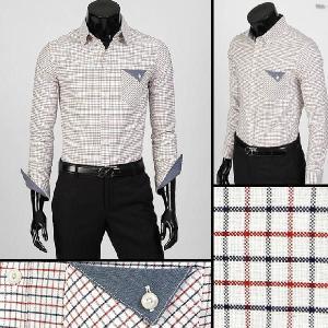 ボタンダウン 長袖 チェック カジュアル シャツ 胸ポケット デニム配色  レッド aur02|coconoco
