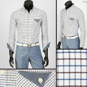 ボタンダウン 長袖 チェック カジュアル シャツ 胸ポケット デニム配色 ブルー aur03|coconoco