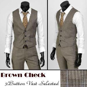 3ボタン メンズ ベスト ポケット付き ブラウン チャック bts01v |coconoco