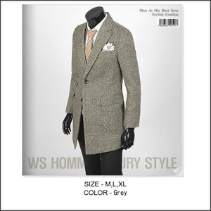 ブラウン メンズ スリムライン コート、ロングジャケット、ウール混紡 毛織 チェンジポケット・デザイン ロング ジャケット bts04|coconoco